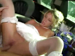 Succulent bride gets her shaven snatch pulverized