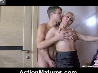 Sexy older sweetheart lets a horny showered guy hike her petticoat and drill her muff