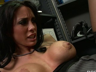 Johnny is trying to concentrate at work, but this chab can't assist but be distracted by his co-worker, Mya's large sexy marangos and the provocative way that babe dresses. Frustrated by his inability to pay attention at the office, that guy complaints to his supervisors. Angry and hurt, Mya uses her luscious large titties to persuade Johnny to take action that's not so legal...